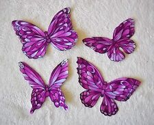 "BEAUTIFUL PURPLE/VIOLET BUTTERFLY APPLIQUES ""STAINED GLASS FABRIC"" IRON ON  #48"