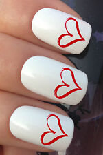 VALENTINES DAY NAIL ART SET #310 x24 DOODLE HEART WATER TRANSFER DECALS STICKERS