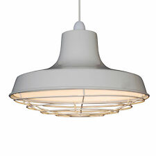 360mm Retro Industrial Cream Metal Coolie Shade Ceiling Light Pendant With Cage
