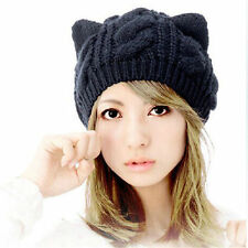 Women Lady Flower Beret Baggy Beanie Crochet Knit Warm Winter Hats Skiing Cap