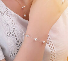 Fashion Charm Silver Plated Pearl Snake Chain Bracelet Bangle Cuff Women Jewelry