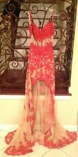 NEW SHERRI HILL 21161 RED NUDE LACE LONG FORMAL EVENING PAGEANT DRESS GOWN 4