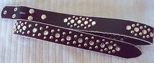 NEW SMALL S Black Leather Rhinestone Silver Stud Western Cowboy Girl SNAP Belt