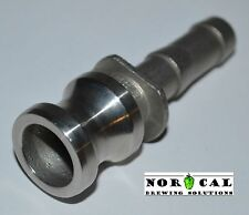 "CAM LOCK CAMLOCK TYPE E Groove Adapter Male to 1/2"" Hose Barbed 316 Stainless"