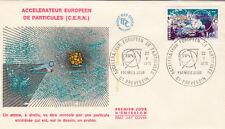 Enveloppe 1er Jour PREVESSIN 22/X/1976 accélérateur de particules éd courbevoie