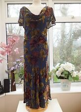 "STUNNING ""EAST"" BLUE FLORAL ROSES SILK MIX VELVET DEVORE FULL LENGTH DRESS Sz 16"