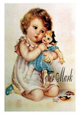 CHARLOTTE BECKER*GIRL BROKEN DOLL*BEST*QUILT ART FABRIC BLOCK*5X7*OOOO DARLING