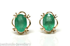 9ct Gold Emerald Stud earrings Gift Boxed Made in UK