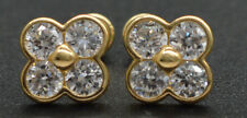 JM85 Created Diamond Cluster Flower Stud Earring 14k Solid Yellow Gold ScrewBack