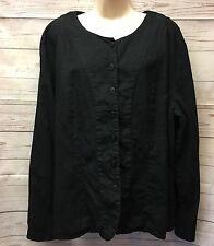 FLAX by Engelhart Women's L Solid Black Linen Button Long Sleeve Jacket Shirt