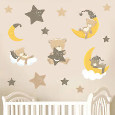 Childrens Teddybears & Stars - Brown - 15 Pack Wall Stickers Nursery Teddy Bears