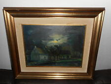 Old oil painting, {Houses and trees with a full moon, is signed, nice frame! }.