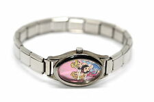 WALT DISNEY COLLECTORS EDITION SILVER MURANO ITALIAN CHARM PRINCESS WATCH