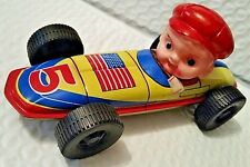 Vintage 1950's Japan tin Race Car with Driver USA #5 ~ Ray Rohr Cosmic Artifacts