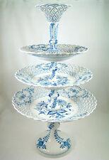 Monumental Meissen Blue White Flowers Three Tier Dessert Stand Epergne
