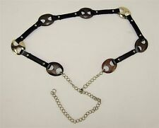 ANN TAYLOR Black Leather Wood Gold Tone Cinch Belt Silver Tone Chain Link Clasp