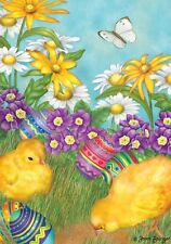 "Easter Garden Holiday Garden Flag Floral Chicks Eggs 12.5"" x 18"" Briarwood Lane"