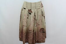 Max Mara Weekend - Brown Striped / Ombre Print Pleated Cotton Skirt -Size 40 / 6