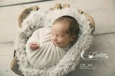 Lamb Lullaby Vegan Fur Basket Stuffer, Super Soft Faux Fur, Newborn Photo Props