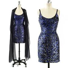 WOW Vtg LILLIE RUBIN Blue SEQUIN Bead Cocktail Mini PARTY Dress & GATSBY Shawl S