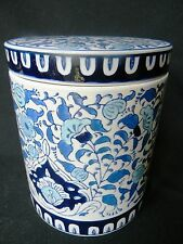 Chinese Asian Rich Blues on White Glazed Floral Porcelain Canister w Rubber Seal