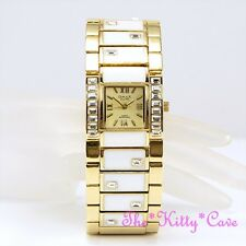OMAX Deco Ladies Gold PL Enamel Seiko Movt Cuff Watch w/ Swarovski Crystals T002