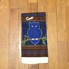 Holiday Lodge Owl Christmas Kitchen Towel - Pine Cones Plaid Blue Brown Green