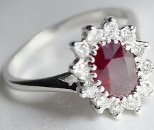14K RUBY & DIAMOND HALO RING VINTAGE NATURAL (NOT glass filled) OVAL FREE SHIP