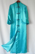 Vtg Silver Lake Duster/Opera Coat Asian Style Satin Turquoise Size XS