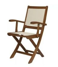 Windsor Folding Garden Chair, Wood & Fabric, 2 Pack