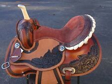 15 16 BARREL RACING SHOW TRAIL PLEASURE TOOLED LEATHER HORSE WESTERN SADDLE TACK
