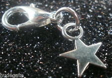 10 Silver Tone Small Star Clip on Charms for Bracelets Wholesale Jewellery