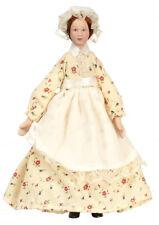 Dollhouse Miniature Doll  Maid Yellow Dress Porcelain 1:12 Scale