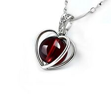 925 Sterling Silver Gemstone Natural Garnet Red Heart Crystal Pendant Necklace