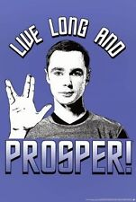 THE BIG BANG THEORY SHELDON STAR TREK LIVE LONG AND PROSPER POSTER 22x34 NEW