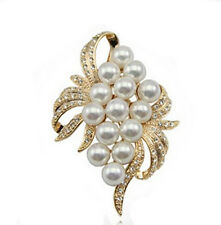 Elegant White Pearls and Gold Grapes Design Brooch Bridal Corsage Pin BR128