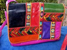 100 % Authentic SHARIF Vintage Aztec Indian Leather Handbag Purse Patchwork RARE
