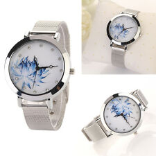 Stainless Steel Women Lady Fashion Blue Lotus Rhinestone Mesh Quartz Wrist Watch