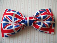 "HANDMADE 4"" UNION JACK BRITISH FLAG PRINT UK COTTON BOW HAIR CLIP PATRIOTIC GB"