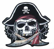 JUMBO 11 INCH PIRATE W SWORDS AND GOLD TOOTH JACKET BACK PATCH JBP79 new patches