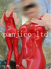 Latex Rubber Gummi Ganzanzug Catsuit Sexy Zipper Bodysuit Red Suit Size XS-XXL
