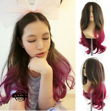 Heat Resistant Brown Ombre Hair Lolita Long Curly Wavy Full Wig Cosplay Party
