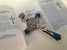 "3"" St Benedict Medal Cross Crucifix/ Blue And Silver  Finish/ Exorcism Crucifix"