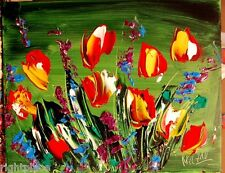"TULIPS "" MARK KAZAV - ORIGINAL OIL PAINTING ABSTRACT MODERN ART RED BLUE 4QWEF"