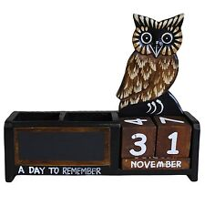Shabby Chic Brown Owl Wooden Calendar Pen Pot Pen Holder Desk Tidy
