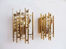 Pair of PALWA Gold Plated Crystal Glass Wall Lights / Sconces, Germany 1960's