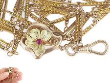 Jugendstil Gelb/Rose Gold Doublé Rubin Damen Taschenuhren Kette mit Schieber