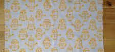 DISPICABLE ME/MINION FABRIC FQ-48cmX65cm–POLYCOTTON MATERIAL-YELLOW/WHITE