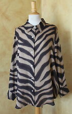 Ralph Lauren Art-to-Wear Animal Print Striped Silk Blouse Shirt Top Sz 20W 1X 2X
