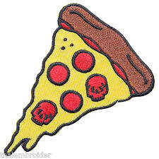Pizza Slice Badge Fast Food Red Skull Tomato Cheese Iron-On Patches Jacket #F009
